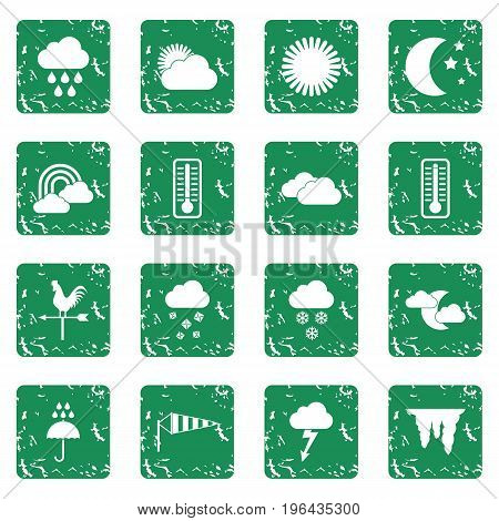 Weather icons set in grunge style green isolated vector illustration