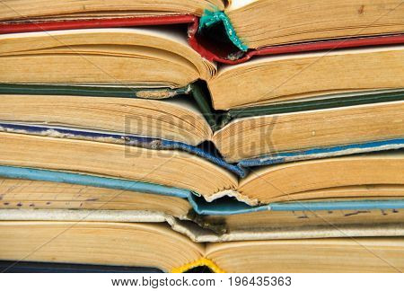 Stack Of Old Open Books. Books Background