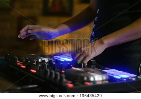 Hands Disc Jockey At The Turntable. Dj Plays On The Best, Famous Cd Players At Nightclub During Part