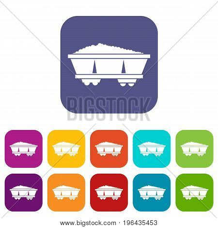 Coal trolley icons set vector illustration in flat style in colors red, blue, green, and other