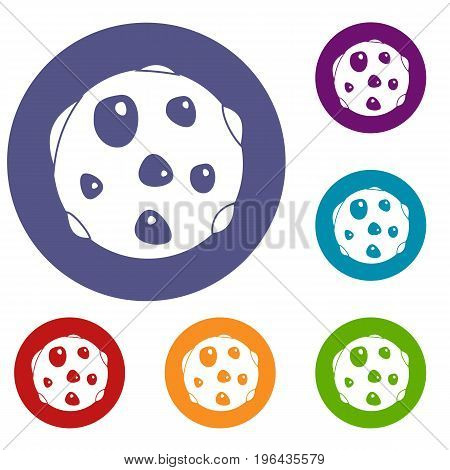 Alone planet icons set in flat circle red, blue and green color for web