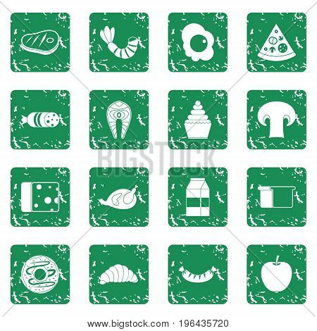 Food icons set in grunge style green isolated vector illustration