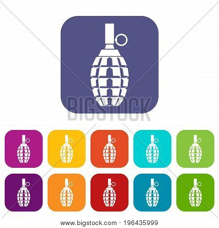 Grenade icons set vector illustration in flat style in colors red, blue, green, and other