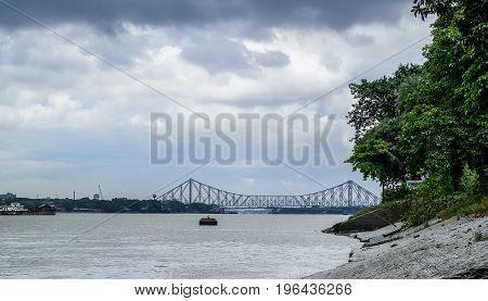 View from Princep ghat, kolkata, West bengal. India.