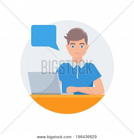 Vector illustration of a man working on a laptop with speech bubble