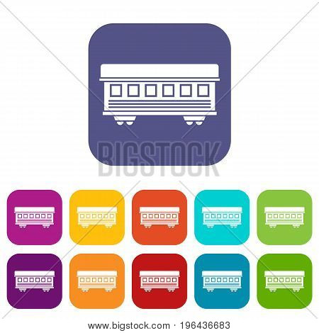 Passenger train car icons set vector illustration in flat style in colors red, blue, green, and other