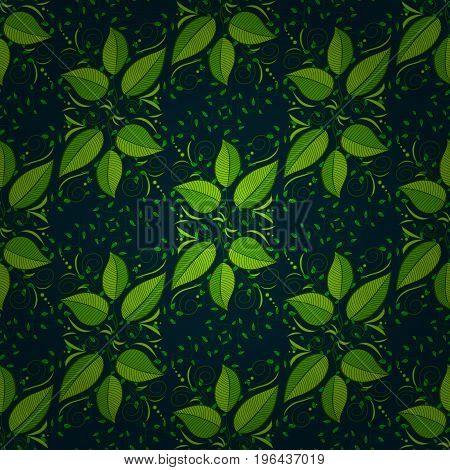Flat Leaf Elements Design. Trendy seamless Floral Pattern In Vector illustration. Colour Summer Theme seamless pattern Background. Beautiful fabric pattern.