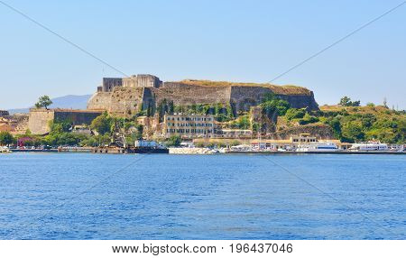Fortress Of Corfu In Greece With Calm Sea