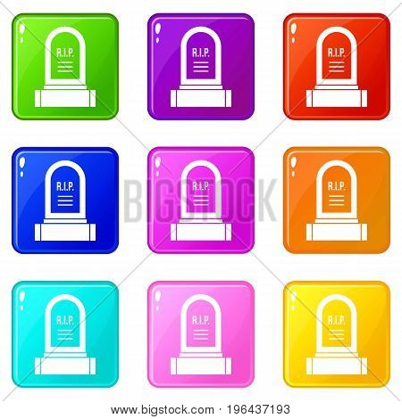 Headstone icons of 9 color set isolated vector illustration