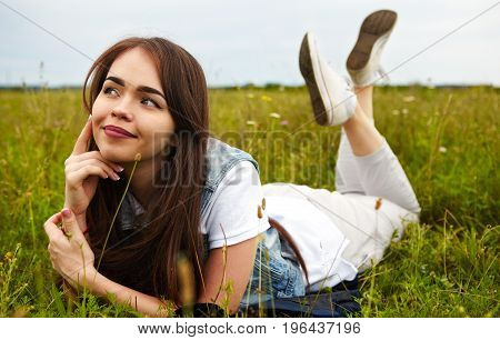 Beautiful Girl In A Meadow