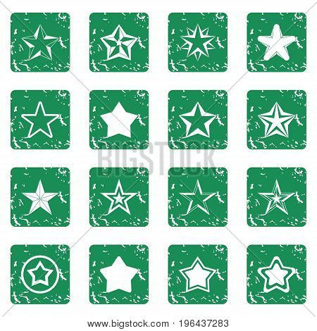 Star icons set in grunge style green isolated vector illustration