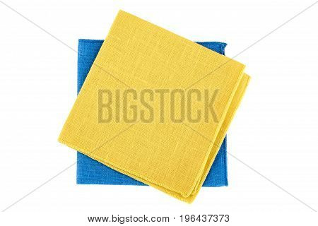 Yellow and blue textile napkins isolated on white background