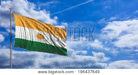 Niger Waving Flag On Blue Sky. 3D Illustration