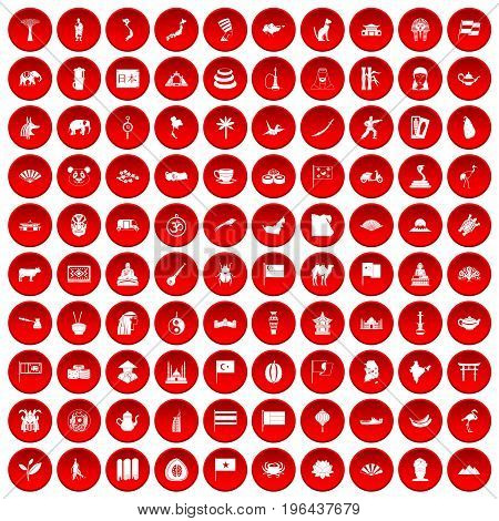 100 Asia icons set in red circle isolated on white vector illustration