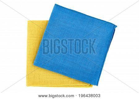 Blue ans yellow textile napkins isolated on white background