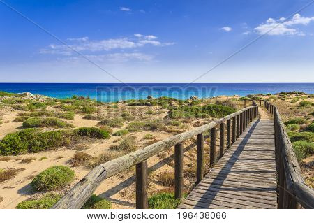 The most beautiful beaches of Italy. Campomarino dune park: fence between sea dunes,Taranto (Apulia). The protected area extends along the entire coast of the town of Maruggio.