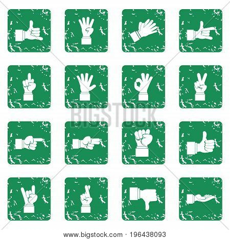 Hand gesture icons set in grunge style green isolated vector illustration