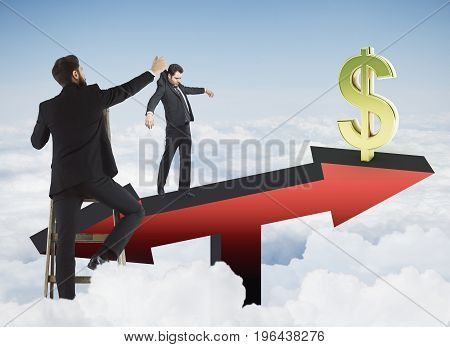Abstract image of businessman placing subordinate on red arrow scales with golden dollar sign on sky background. Finance and puppetting concept. 3D Rendering