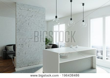 Modern studio flat with kitchen living room window with city view and sunlight. 3D Rendering