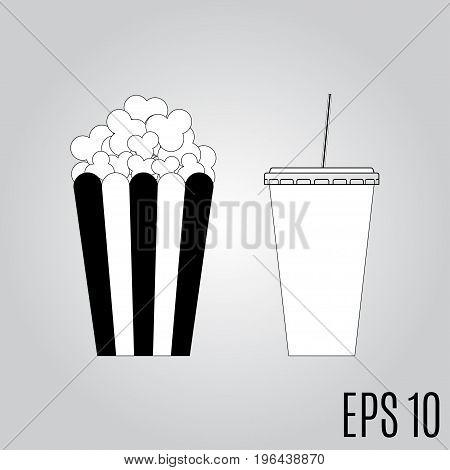 popcorn and soda icon vector illustration eps10