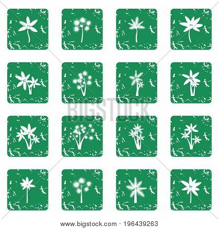 Palm tree icons set in grunge style green isolated vector illustration