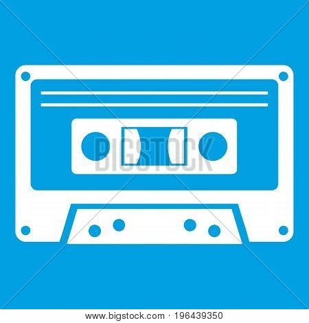 Cassette tape icon white isolated on blue background vector illustration