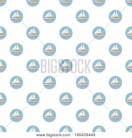 Speed boat with sail pattern seamless repeat in cartoon style vector illustration