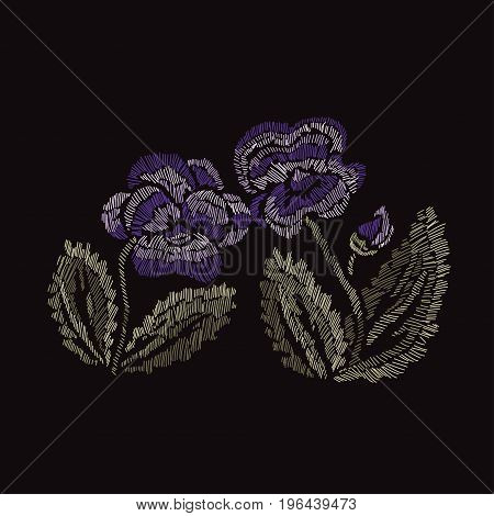 Elegant bouquet with pansy flowers design element. Floral composition can be used for wedding baby shower mothers day valentines day cards invitations. Embroidery decorative flowers