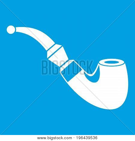 Wooden pipe icon white isolated on blue background vector illustration