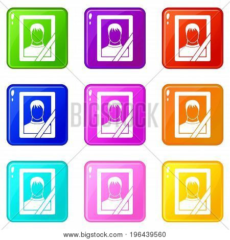 Memory portrait icons of 9 color set isolated vector illustration