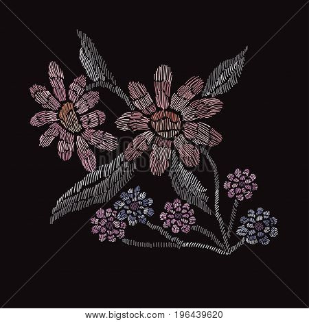 Elegant bouquet with flowers design element. Floral composition can be used for wedding baby shower mothers day valentines day cards invitations. Embroidery decorative flowers