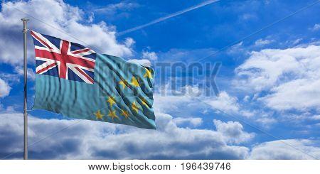 Tuvalu Waving Flag On Blue Sky. 3D Illustration