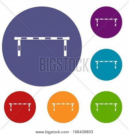 Striped barrier icons set in flat circle red, blue and green color for web