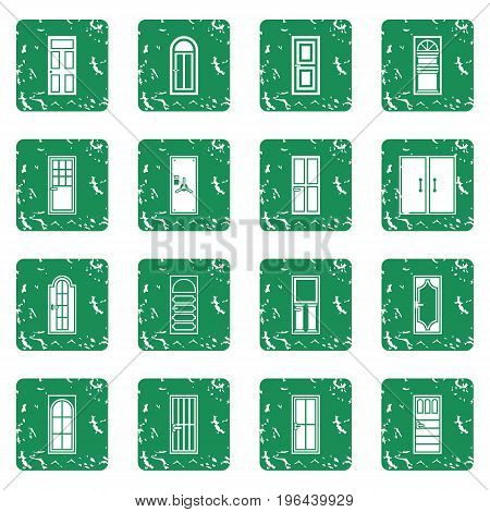 Door icons set in grunge style green isolated vector illustration