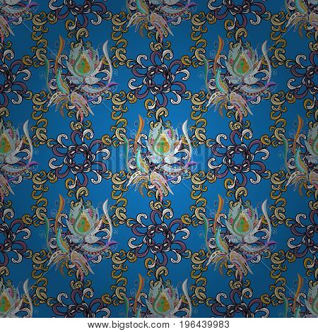 Amazing seamless floral pattern with bright colorful leaves and leaves on a colorful background. Folk style. The elegant the template for fashion prints. Modern floral background.