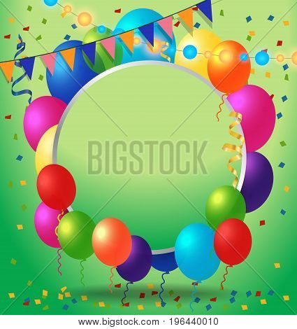 Blank greeting card with round frame, balloons and garland. For greeting cards, posters, leaflets and brochures.