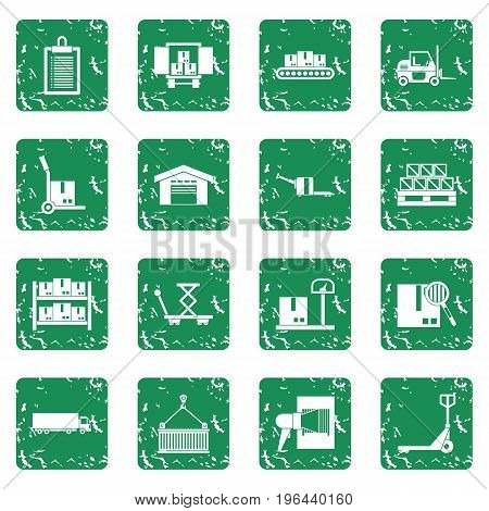 Logistic icons set in grunge style green isolated vector illustration