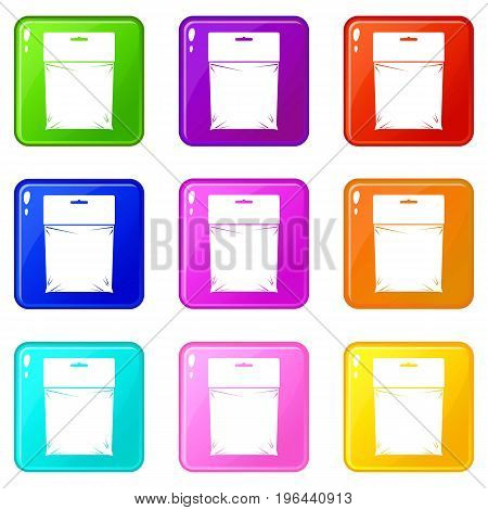 Package icons of 9 color set isolated vector illustration