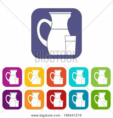 Jug of milk icons set vector illustration in flat style in colors red, blue, green, and other