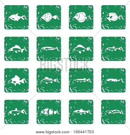 Cute fish icons set in grunge style green isolated vector illustration