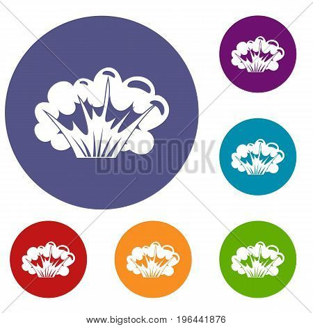 High powered explosion icons set in flat circle red, blue and green color for web