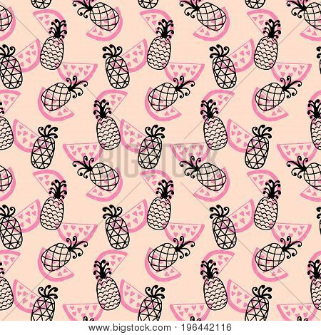 Pineapples seamless pattern on coral. Hand drawn decoration backdrop for your business. Good for wallpaper, invitation card, scrapbook, wrapping paper, website background, fashion textile print.
