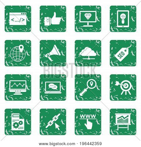 SEO icons set in grunge style green isolated vector illustration