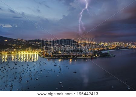 Lightning in the city of Rio de Janeiro night view of Rio de Janeiro Brazil