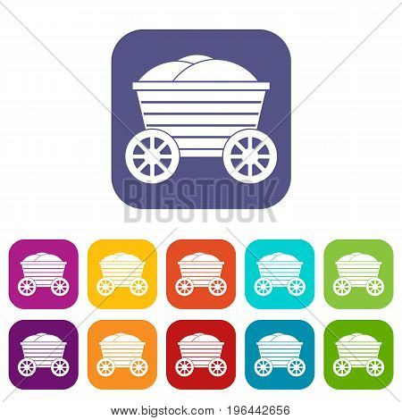 Vintage wooden cart icons set vector illustration in flat style in colors red, blue, green, and other