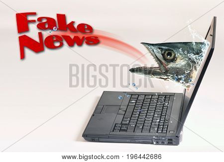 Fake News with fish eating fake news.