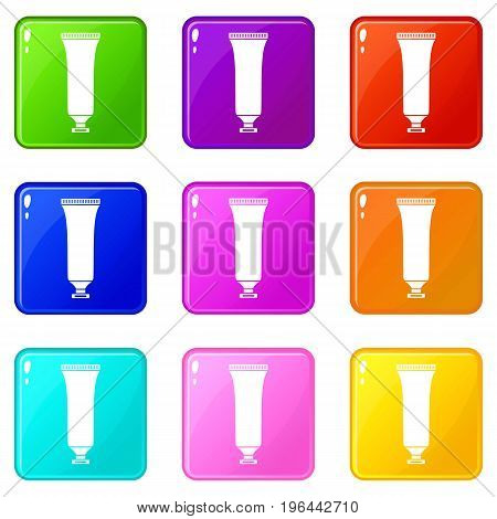Cosmetic tube icons of 9 color set isolated vector illustration