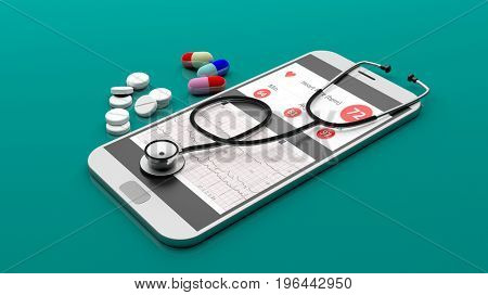 Telemedicine concept. Stethoscope on a smartphone isolated on green background. 3d illustration