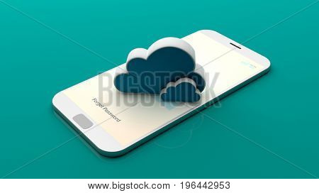 Cloud on a smartphone screen on green background. 3d illustration
