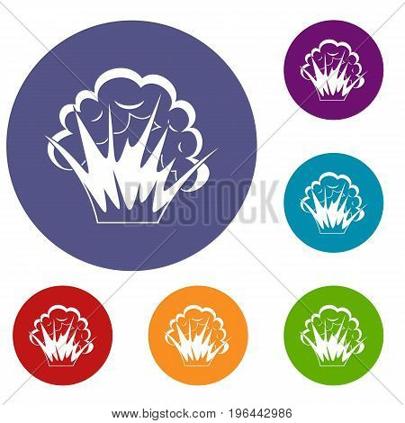 Flame and smoke icons set in flat circle red, blue and green color for web
